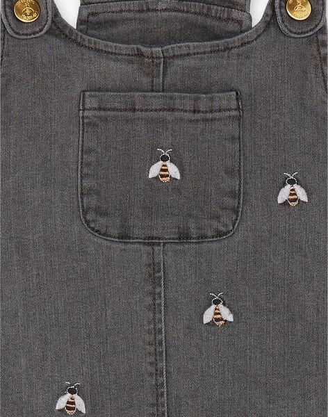 Robe salopette en denim gris broderie abeilles ZEBALETTE / 21E2PF91CHSJ912