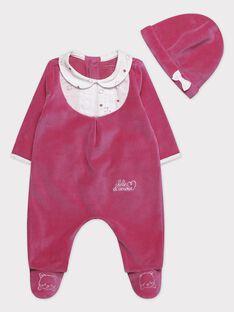 Grenouillère fuchsia et son bonnet bébé fille  TUVIVI B / 20E0NFR2GRE304