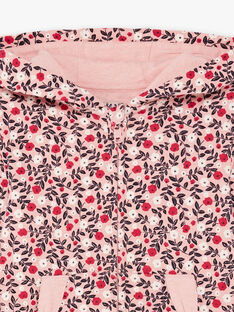 Haut de jogging rose à capuche à motif fleuri enfant fille BROCHETTE / 21H2PF32JGHD314