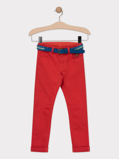 Pantalon rouge avec ceinture amovible garçon  TEZOZOAGE / 20E3PGH2PANF508