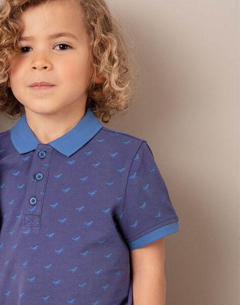 Polo manches courtes uni bleu marine enfant garçon ZYPOLAGE3 / 21E3PGW3POL215