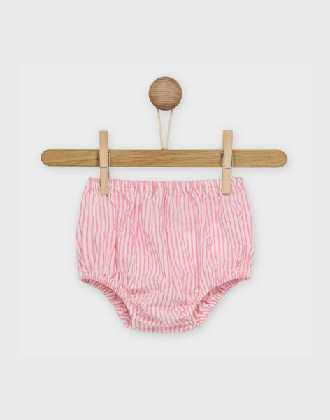 Robe rose à rayures et bloomer bébé fille RAKLELIA / 19E1BFF1ROB318