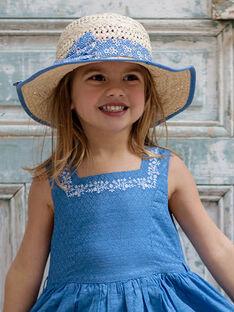 <p>Chapeau en paille ruban bleu imprim&eacute; fleuri enfant fille ZULUETTE / 21E4PFT1CHA009