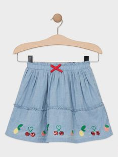 Jupe bleue avec broderies fruits fille   TUJETTE / 20E2PFH2JUP721