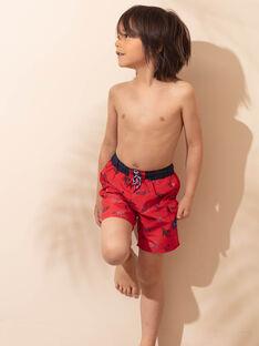 Short de bain rouge à imprimé créatures marines enfant garçon ZYSHORTAGE / 21E4PGR7MAI505
