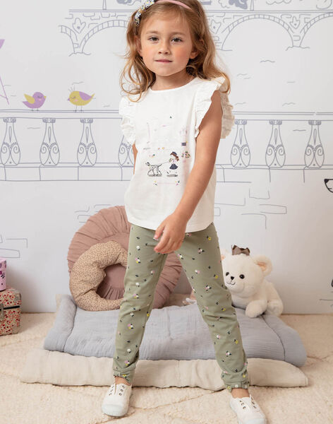 Legging kaki imprimé fleuri enfant fille BELUETTE / 21H4PF21CAL604