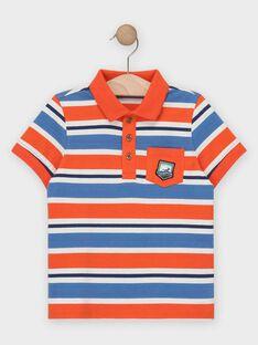 Polo manches courtes rayé bleu, orange et blanc garçon  TUPOLAGE 2 / 20E3PG93POLE400