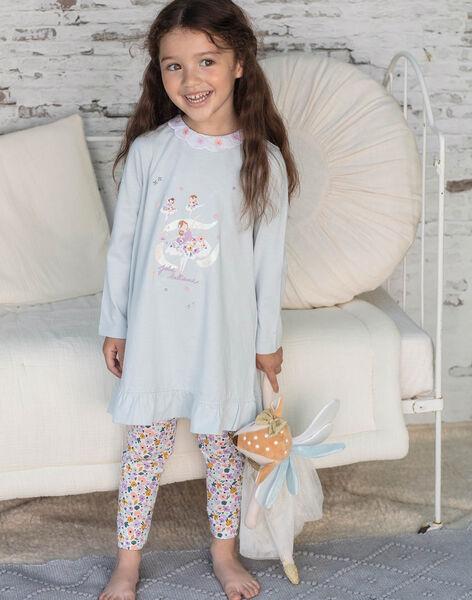 Chemise de nuit manches longues bleu turquoise enfant fille BEBALETTE / 21H5PF61CHNC227