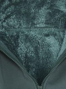 Sweat vert forêt zippé à capuche ZABAGE / 21E3PG71GILG614
