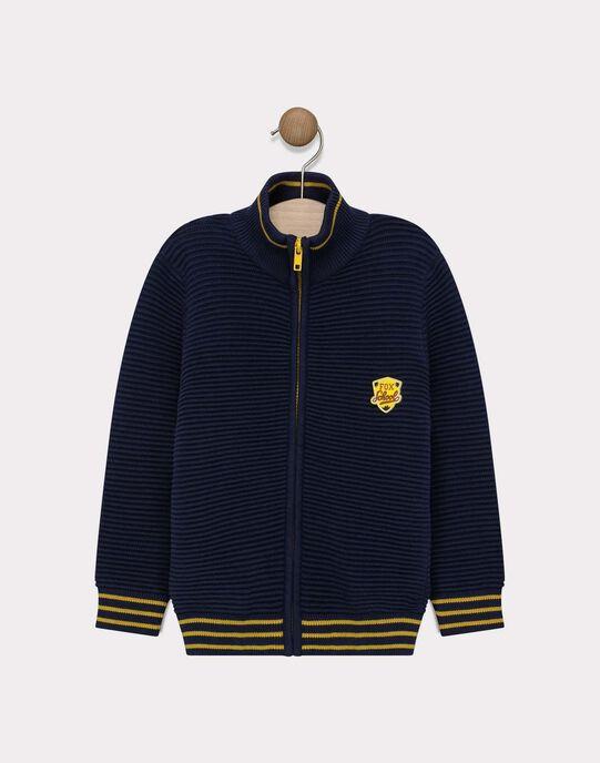 Gilet bleu marine en tricot garçon SAFEUILLAGE / 19H3PG41GIL070