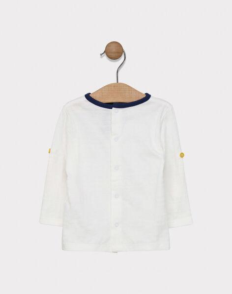 Tee-shirt manches longues bébé garçon uni écru avec placé poitrine  SAFREDO / 19H1BG42TML001