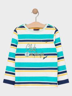 Tee-shirt manches longues rayé turquoise garçon  TEBELAGE / 20E3PGD1TML209