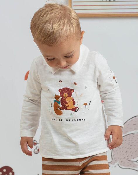 Polo manches longues blanc à col bébé garçon BALIAM / 21H1BGJ1POL001