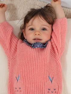 Pull fine maille rose broderies pommes bébé fille BAKELLIE / 21H1BFL1PUL415