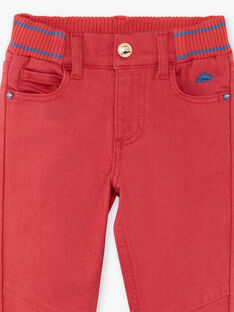 Pantalon rouge ceinture à côtes ZEFAGE / 21E3PGB1PAN506
