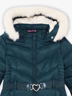 Doudoune bleu canard à ceinture cœur enfant fille BLODODETTE2 / 21H2PFE2D3E714