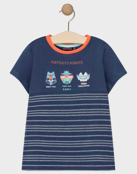Tee-shirt manches courtes bleu marine garçon  TIAZAGE / 20E3PGP1TMCC205
