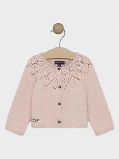 Cardigan rose en maille bébé fille  SAPATTY / 19H1BFI2CAR311