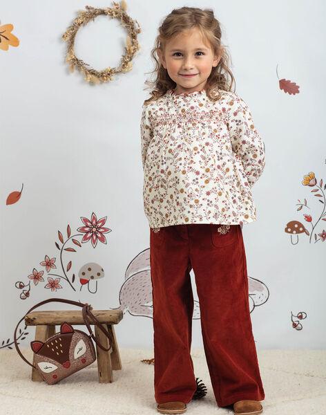Pantalon large rouge brique enfant fille BUBLETTE / 21H2PFJ1PAN821