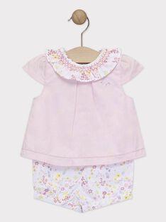 Combinaison short rose bébé fille  TALOUANE / 20E1BFJ1CBL321