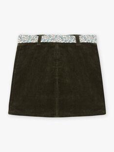 Jupe vert kaki en maille côtelé et ceinture imprimée enfant fille BLAJUPETTE / 21H2PFO1JUP626