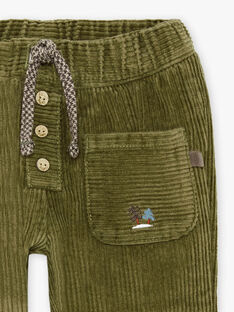 Pantalon à poches en velours côtelé kaki bébé garçon BASERGIO / 21H1BGO3PAN612