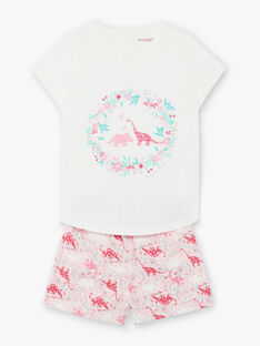 Pyjama short rose et blanc dinosaures enfant fille ZEDINETTE