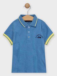 Polo bleu jacquard feuillage garçon  TIBLOAGE / 20E3PGO1POLC208