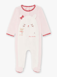 Grenouillère rose poudré motif chat bébé fille BEBIBOU / 21H5BF65GRED327