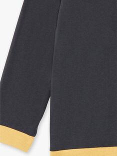 Polo gris foncé manches longues et col contrasté ZANTAGE / 21E3PG91POLJ912