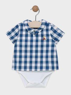 BODY CHEMISE écru avec chemise à carreaux bleu canard et blanc SABERNI / 19H1BG21BOD714