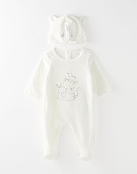 Grenouillère et son bonnet écru bébé mixte  VINNIE_B / 20H0NM12GRE001