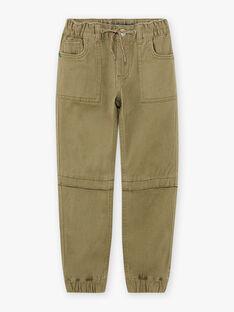 Pantalon jogger vert kaki enfant garçon BOTROMAGE / 21H3PGO1PAN612