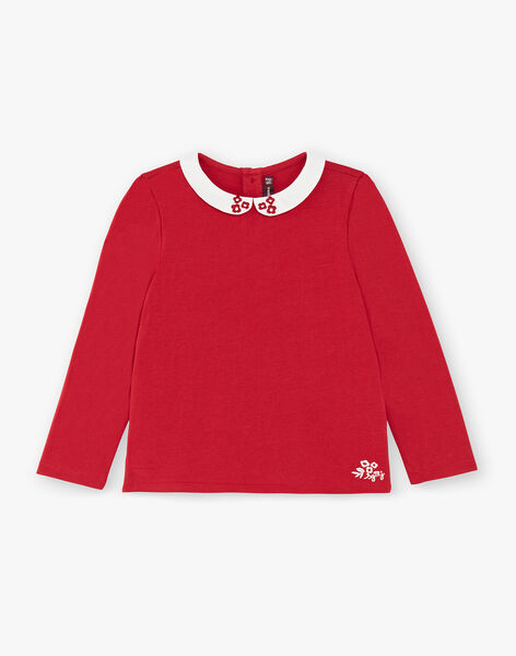 T-shirt rose manches longues et col claudine enfant fille ZLIMETTE 5 / 21E2PFK8TML719