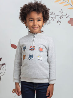 Pull gris broderies animaux enfant garçon BIAGE / 21H3PGJ1PULJ902