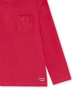 T-shirt manches longues framboise détail noeud enfant fille ZLABETTE 3 / 21E2PFK2TML304