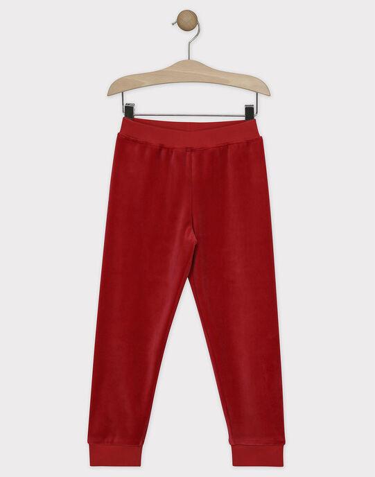 Pyjama en velours rouge et écru petit garçon SORENAGE / 19H5PGQ1PYJ511