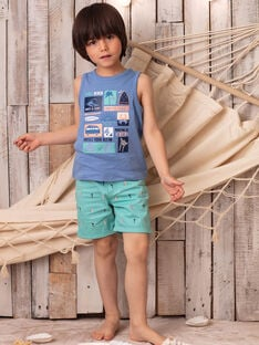 Bermuda bleu turquoise brodé enfant garçon ZOFAGE / 21E3PGU1BER202