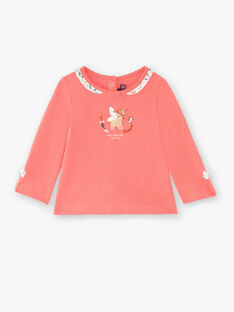 Tee-shirt rose avec col volanté VAKIKI / 20H1BFR1TMLD324