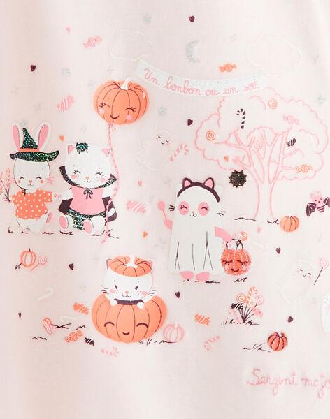 Grenouillère rose en velours thème Halloween  VELOLA / 20H5BFP1GRE321