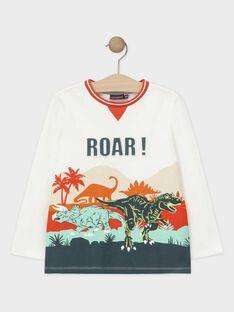 Tee-shirt à manches longues écru imprimé relief dinosaure garçon TACLOAGE / 20E3PGB2TML001