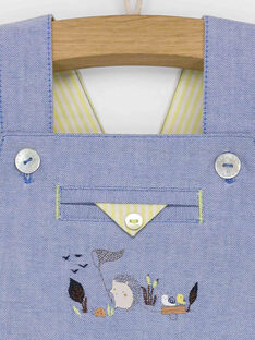 Salopette courte en chambray motifs fantaisie bébé garçon RALOUIS / 19E1BGF1SAC020
