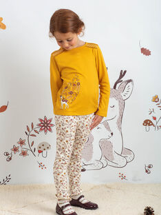 Legging écru à imprimé fleuri enfant fille BUPOLETTE / 21H4PFJ1CAL001