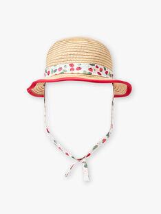 Chapeau corde avec ruban satin écru imprimé  ZAAMOUR / 21E4BFJ1CHA080