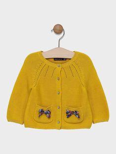 Cardigan moutarde avec poches devant bébé fille SAELOISE / 19H1BF42CAR107