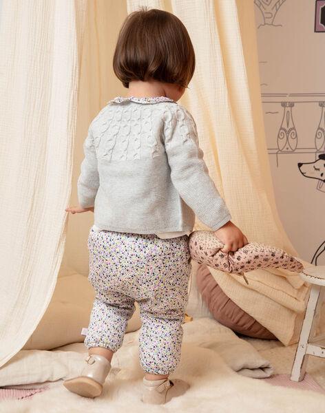 Pantalon écru à imprimé fleuri coloré bébé fille BACHAYMA / 21H1BF21PAN001