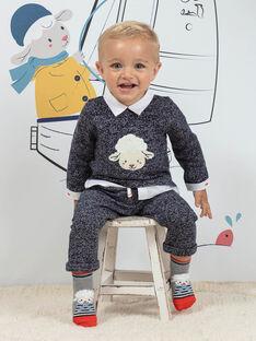 Ensemble bleu chiné à motif mouton bébé garçon BANICK / 21H1BGL1ENSC223