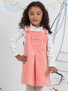 Robe salopette rose en velours côtelé enfant fille BYCHASETTE / 21H2PFL1CHS415