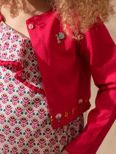 Cardigan manches longues rose fuchsia enfant fille TIUTETTE / 20E2PFQ1CARF510