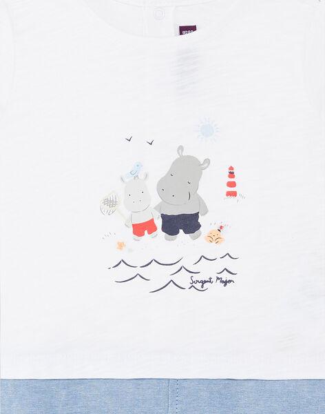 Combinaison courte bimatière blanche et denim bébé garçon ZAOUEST / 21E1BGT1CBL000